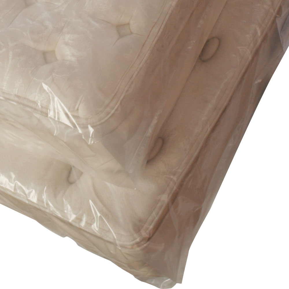 a mattress wrapped up for storage