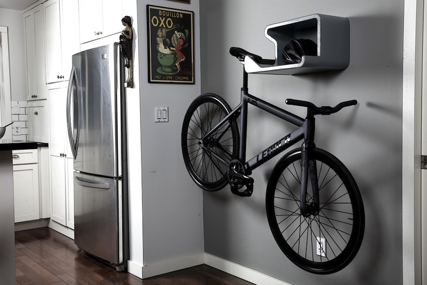 a bike stored in an apartment