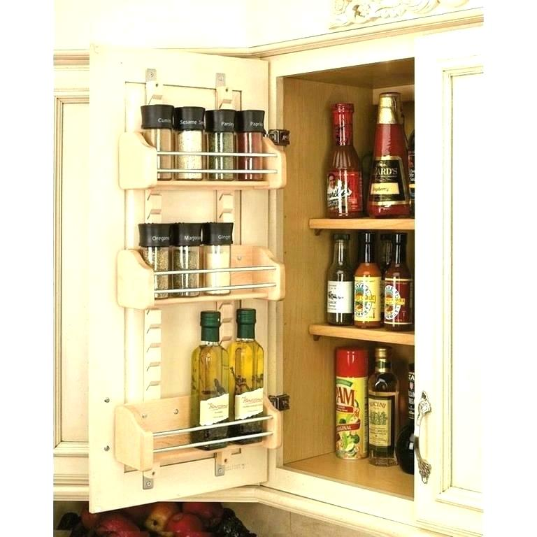 kitchen cabinet being used for storage