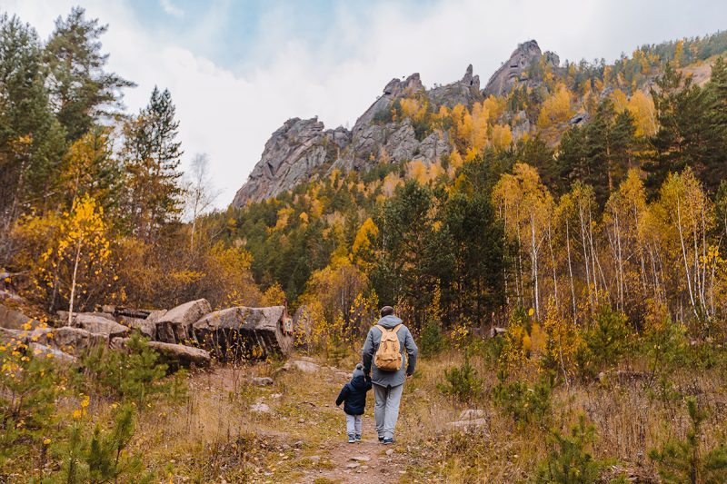 family hiking in fall in Montrose, Colorado