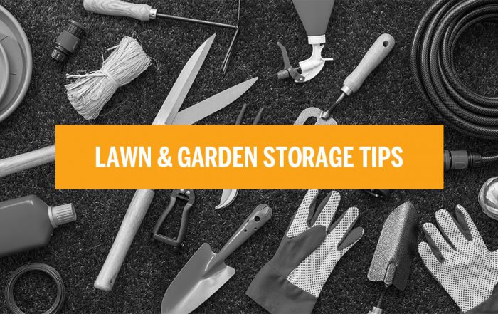 black and white image of gardening supplies with orange box the has text